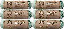 120 x 5L KITCHEN CADDY BIODEGRADABLE FOOD WASTE BAGS (6 X 20) COMPOSTABLE