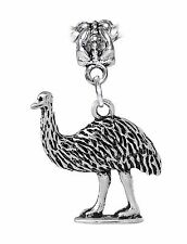 Emu Ostrich Bird Animal Dangle Bead for Silver European Style Charm Bracelets