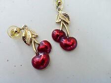 VINTAGE RED ENAMEL CHERRY DROP EARRINGS GOLD TONE METAL