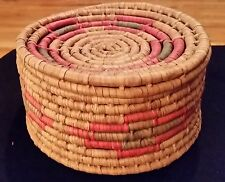 Vintage Coil Woven Basket With Attached Lid.