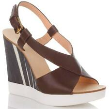 New in Box - $600.00 JIL SANDER Brown Leather Platform Wedge Sandals Size 9 (39)