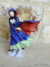 Royal Doulton May HN2746 Woman Blue/Red Cape in Wind Figurine England