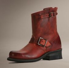 FRYE SHOES ENGINEER 8R BOOTS BURNT RED LEATHER 8 WOMEN'S NEW 77500