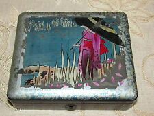 Antique Collectable Wooden Japanese Jewellery Box With Lock
