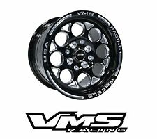 x2 VMS RACING MODULO 13X8 BLACK SILVER DRAG RIMS WHEELS FOR HONDA DELSOL EG