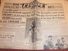 L'EQUIPE MAILLOT JAUNE LE PLUS CHER DU MONDE - BORDEAUX / LISBONNE ANNÉE 1950