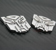 2x Autobot Transformers Metal Car Auto Silver Chrome Decal Emblem Badge Sticker