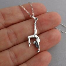 Gymnast Necklace - 925 Sterling Silver - Gymnastics Pendant High Beam Sports NEW