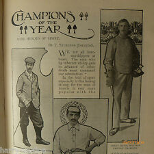 Antique 1900 Sports Champions Vardon Golf Ranji Weightlifting Swimming Football