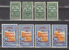 ECUADOR 1934 REVENUE STAMP OVERPRINTED IN BLUE & POSTAL IN RED X 4 SC# RA24 RA33
