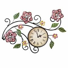 BEAUTIFUL FLORAL ROSES CRYSTAL ACCENTED IRON METAL WALL CLOCK CLOCKS NEW