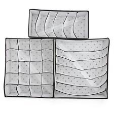 3 x Organizador Caja para Bra Calcetines Ropa Interior Color Negro