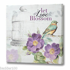 Bird Floral Canvas Picture Purples Prints Wall Hanging Art Display Love Blossom