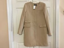 New - J.Crew Women's Sz 14 Beige Double Cloth Collarless Coat Fall Winter Wool