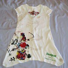 DESIGUAL White Mini t-shirt Dress sz L 10 12 excellent