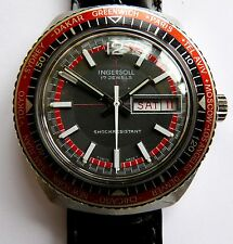 Vintage 1970s Ingersoll Swiss made 17 jewel world time diver's watch.