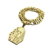 NEW MENS ICED OUT TYGA KING TUT PHARAOH NECKLACE PENDANT W FIGARO CHAIN JSP037M