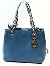 Michael Kors NEW Blue Steel Saffiano Cynthia NS Satchel Bag Purse $298- #012