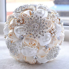 Pugster Ivory&white Silk Ribbon Hand Bouquet Wedding Bridal Pearl Pin Brooch