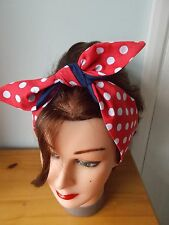 HEAD SCARF HAIR BAND RED NAVY BLUE  POLKA DOT BUNNY  TIE BOW ROCKABILLY lined
