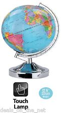 "NEW CHROME 13"" 32CM DESK TOP BEDROOM OFFICE WORLD GLOBE TABLE TOUCH LAMP"