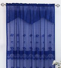 "THF Lace Panel 59"" X 84"" with 16-inch Attached Valance Navy Blue Style # 6271"