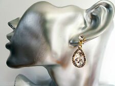 Delicate Diamante Crystal Teardrop Dangle Earings in Gold Tone 3.4 cms Drop