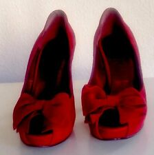 Pin-up-50ies 37 Peep-Toes with Bow Burleske in Cherry-Red Suede Leder Rockabilly