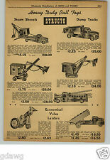1948 PAPER AD Structo Buddy L Toy Trucks Dump Steam Shovel Tow Wrecker Truck