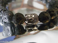 Bracciale pietra lavica 10mm BUDDA TIBET Black Lava Rock Stone Crystal Bracelet