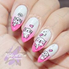 Nail Art Water Decals Transfer Stickers Funny White Cat Printed