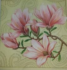 4 x SINGLE  PAPER NAPKINS-,flowers magnolia, pink- DECOUPAGE AND CRAFTS-15