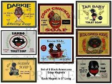 EIGHT MAGNETS - Black America Vintage Style Soap Labels - Ship FREE