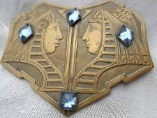 VINTAGE ART DECO EGYPTIAN KING QUEEN HEAD BLUE RHINESTONE LARGE SASH PIN