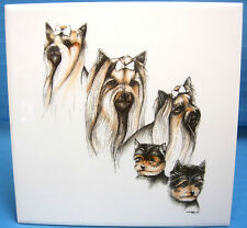 Laura Rogers Yorkie Yorkshire Terrier Dog Puppy 1995 Ceramic Tile Picture