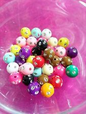 Acrylic Beads 8mm Assorted Beads Lot Bulk Wholesale Beads Polka Dot Beads 50pc