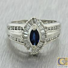 Vintage 14k White Gold Marquise Sapphire Baguette Round Diamond Cocktail Ring
