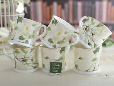Set of 6 WHITBY QUEEN Bone China FOOTED Palace MUGS With Gold Rim CREATIVE TOPS