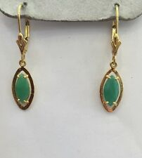 14k Solid Yellow Gold Dangle Leverback Earrings2.60CTNatural Emerald MarquiseCut