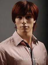 Fashion wig New sexy Men's Short Red Brown Natural Hair Full wigs Free shipping