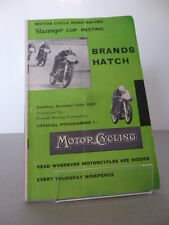 Brands Hatch Slazenger Motor Racing Cycle Road Race Programme 13th October 1957