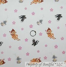 BonEful Fabric Cotton Quilt White Pink Flower Disney Bambi Deer Skunk Girl SCRAP