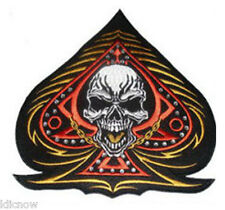 """ACE OF SPADES with SKULL and Rhinestones BACK PATCH 25CM x 25CM (10"""" x 10"""")"""