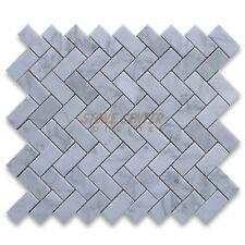Carrara White Italian Carrera Marble Herringbone Mosaic Tile 1 x 2 Polished