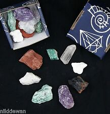 SMALL BOX 8 RAW GEMSTONES CRYSTAL ROCK SET SPECIMENS !!