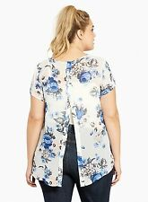 NWT Torrid ivory floral chiffon button back top, size 3 3X