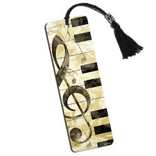 Vintage Piano with Treble Clef and Music Notes Printed Bookmark with Tassel