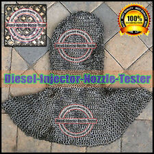 Round Riveted with Flat Flat Washer Chainmail Coif Larp Medieval Chain Mail Hood