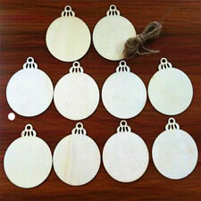 10 Pcs Christmas Tree Wooden Round Bell Hanging Blank Decorations Gift Tag Shape