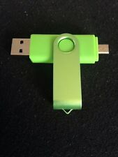 Green 16GB USB 2.0 and micro usb Flash Pen Drive Memory Stick Rotary Thumb Key